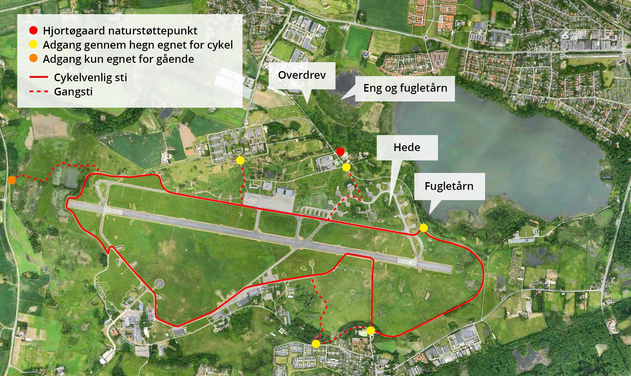 De 6 indgange for cyklister OG gående ind på Flyvestationens område og 2 indgange kun for gående.